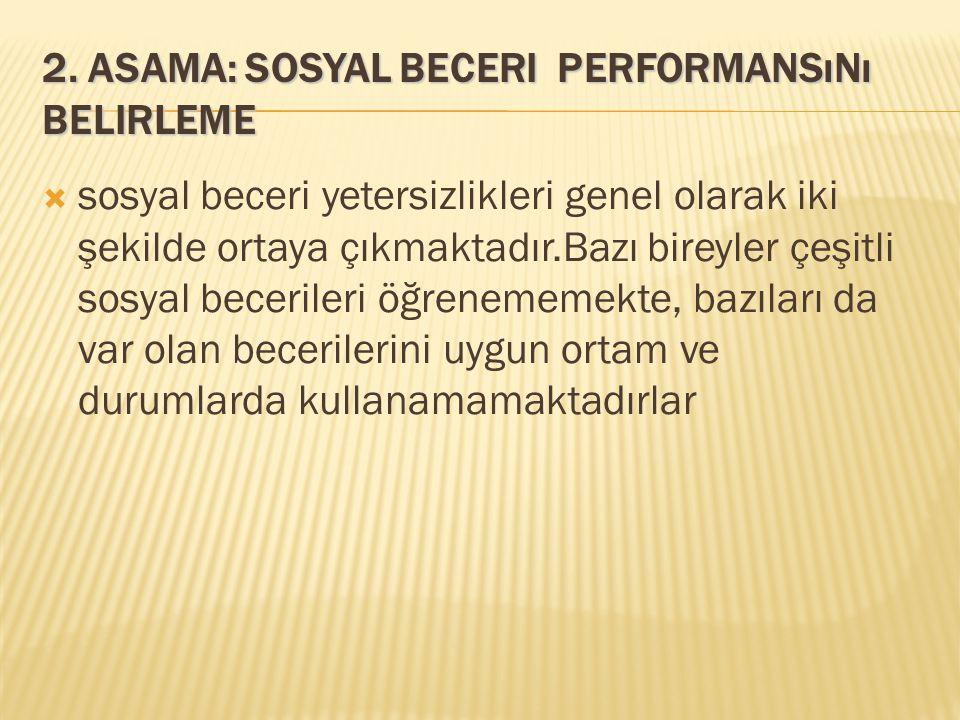 2. Asama: Sosyal Beceri performansını Belirleme