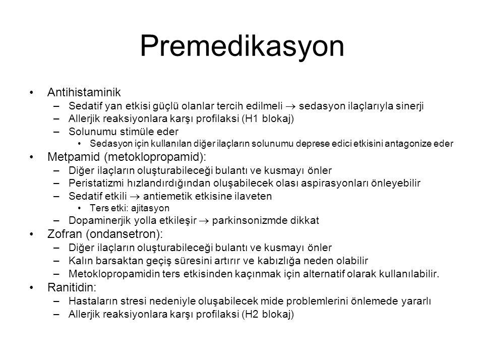 Premedikasyon Antihistaminik Metpamid (metoklopropamid):
