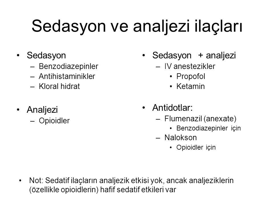 Sedasyon ve analjezi ilaçları