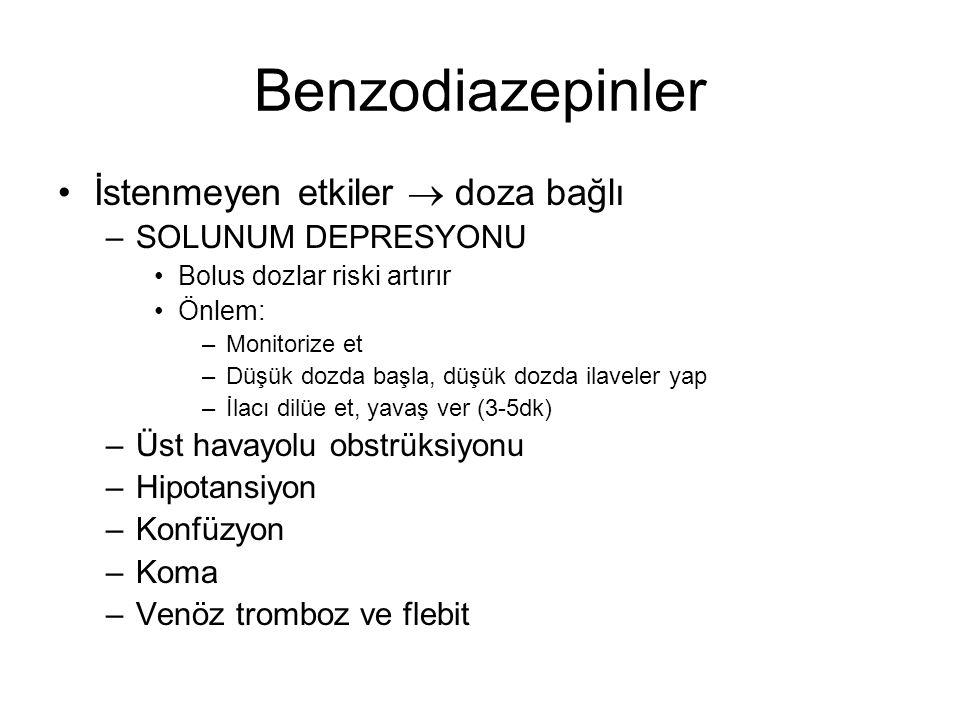 Benzodiazepinler İstenmeyen etkiler  doza bağlı SOLUNUM DEPRESYONU