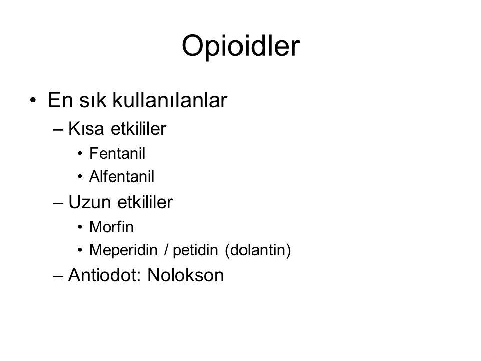 Opioidler En sık kullanılanlar Kısa etkililer Uzun etkililer