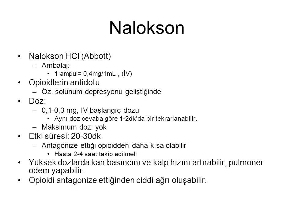 Nalokson Nalokson HCl (Abbott) Opioidlerin antidotu Doz: