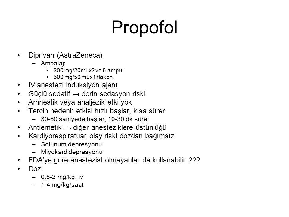 Propofol Diprivan (AstraZeneca) IV anestezi indüksiyon ajanı