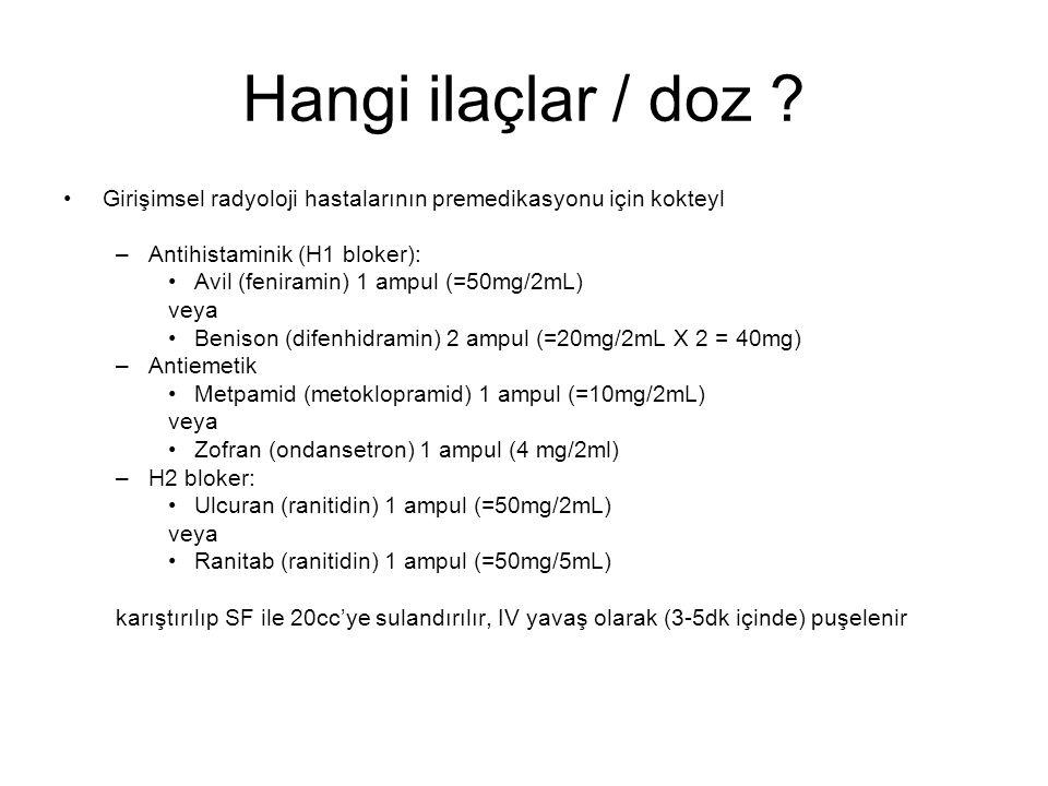 Hangi ilaçlar / doz Girişimsel radyoloji hastalarının premedikasyonu için kokteyl. Antihistaminik (H1 bloker):