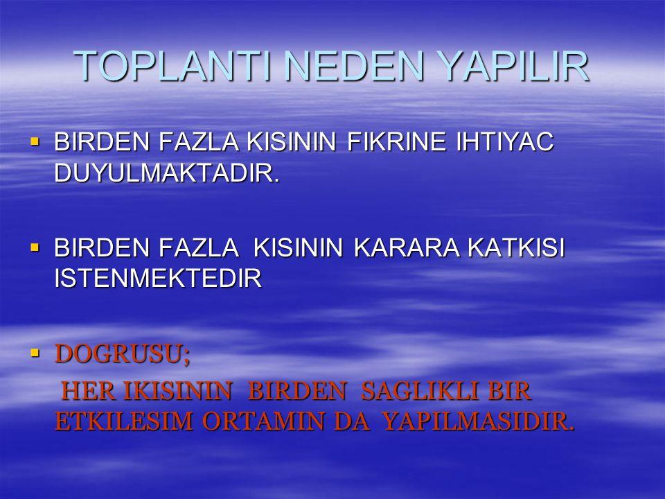 TOPLANTI NEDEN YAPILIR