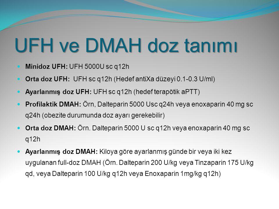 UFH ve DMAH doz tanımı Minidoz UFH: UFH 5000U sc q12h