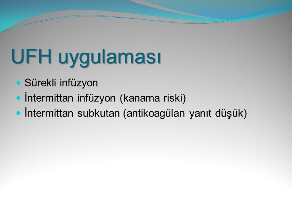 UFH uygulaması Sürekli infüzyon İntermittan infüzyon (kanama riski)