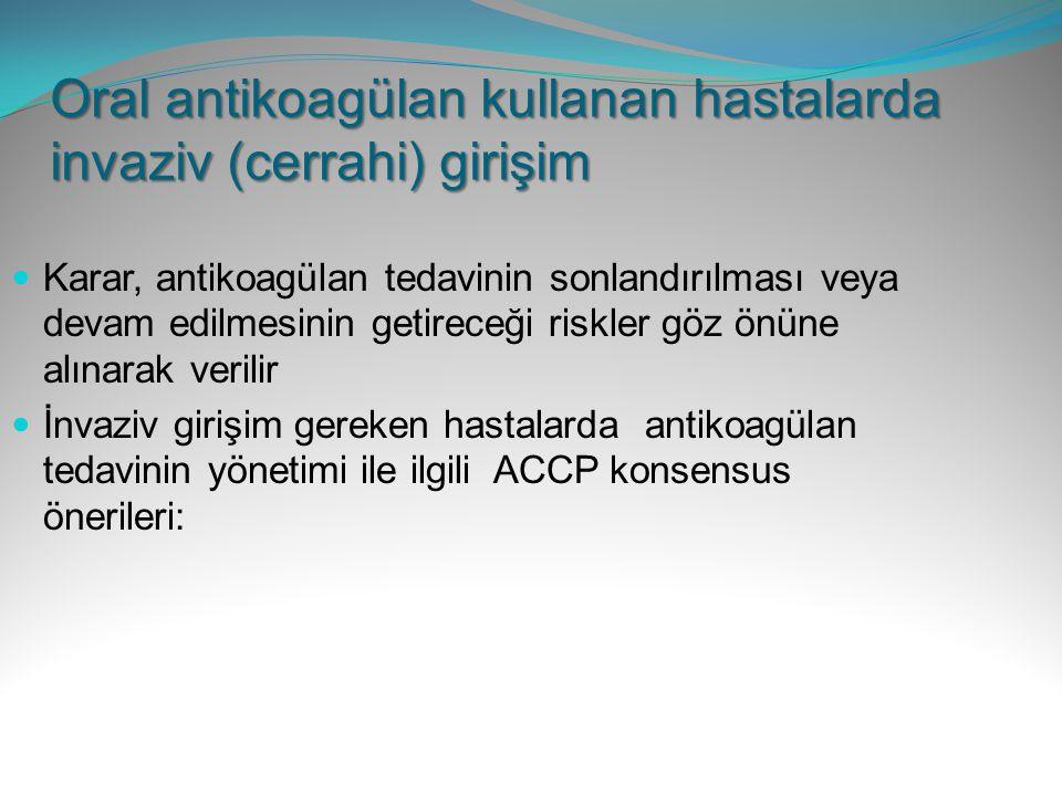 Oral antikoagülan kullanan hastalarda invaziv (cerrahi) girişim