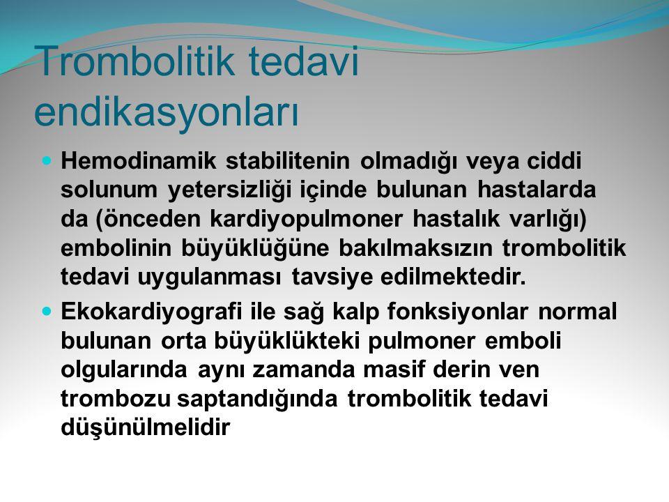 Trombolitik tedavi endikasyonları