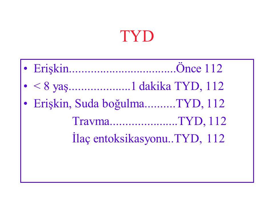 TYD Erişkin...................................Önce 112. < 8 yaş....................1 dakika TYD, 112.