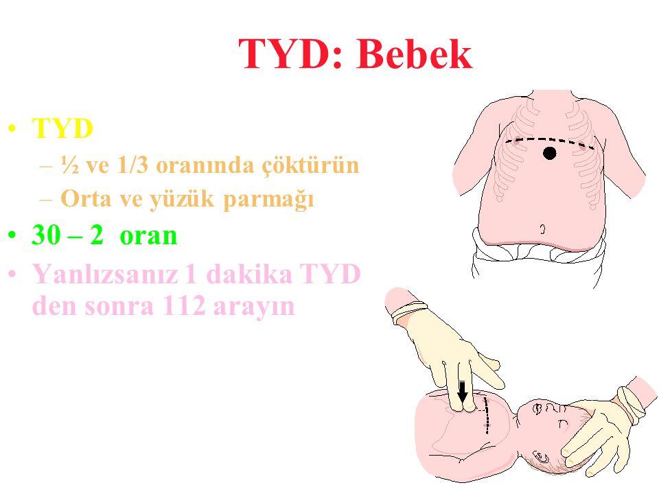 TYD: Bebek TYD. ½ ve 1/3 oranında çöktürün. Orta ve yüzük parmağı.