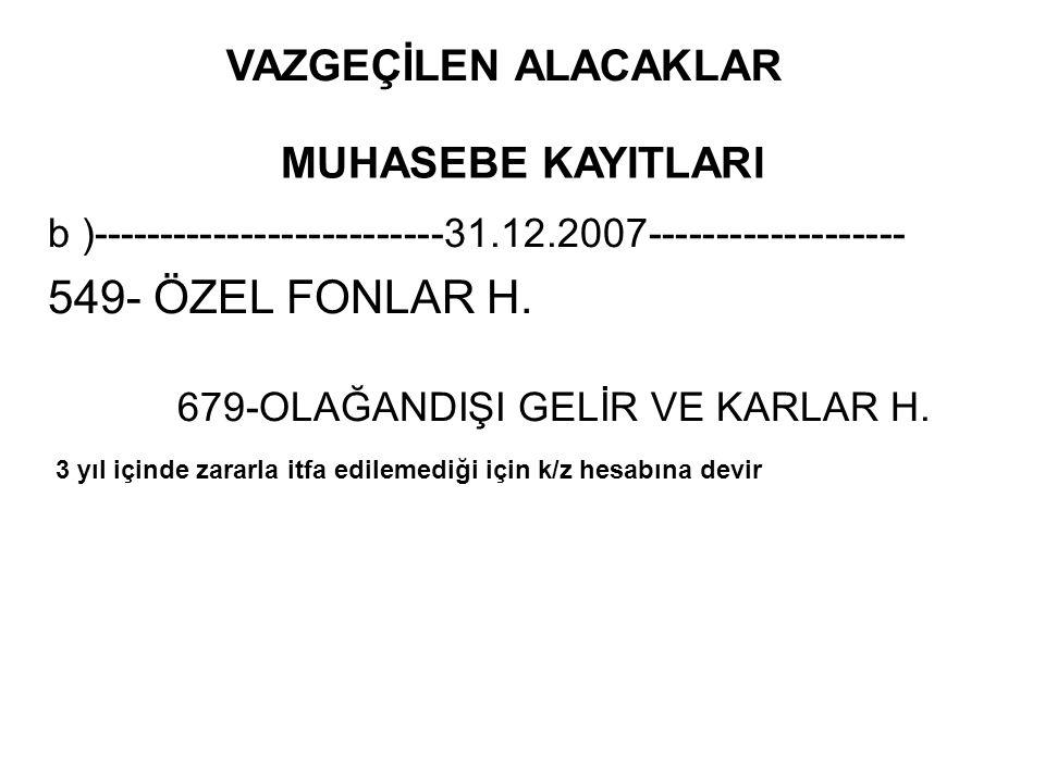 549- ÖZEL FONLAR H. VAZGEÇİLEN ALACAKLAR MUHASEBE KAYITLARI