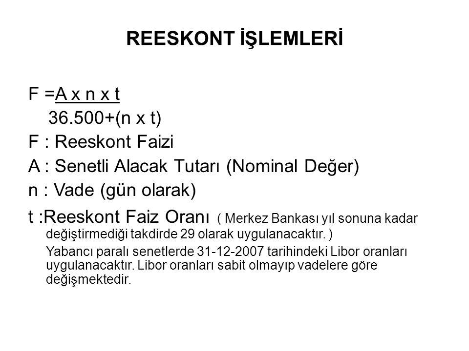REESKONT İŞLEMLERİ F =A x n x t 36.500+(n x t) F : Reeskont Faizi