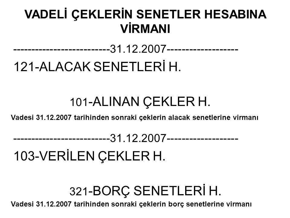 VADELİ ÇEKLERİN SENETLER HESABINA VİRMANI
