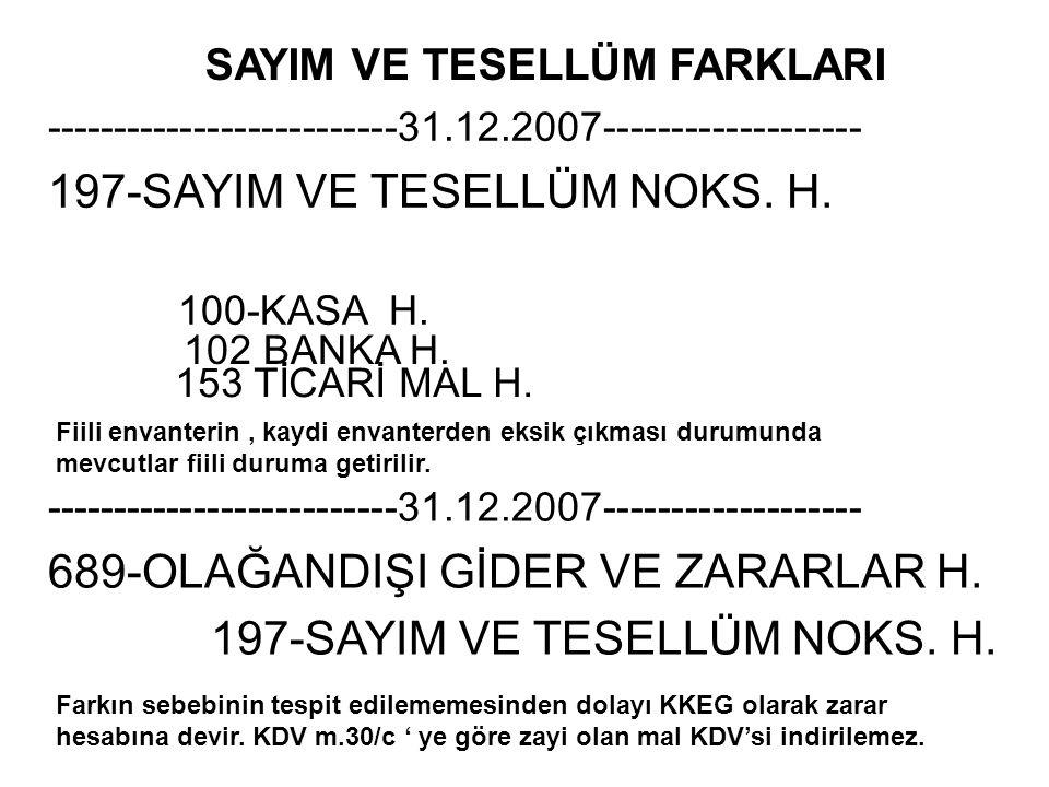 197-SAYIM VE TESELLÜM NOKS. H. 100-KASA H.