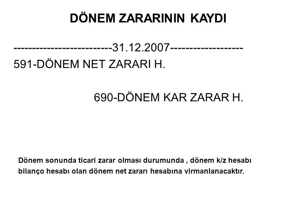 DÖNEM ZARARININ KAYDI --------------------------31.12.2007------------------- 591-DÖNEM NET ZARARI H.