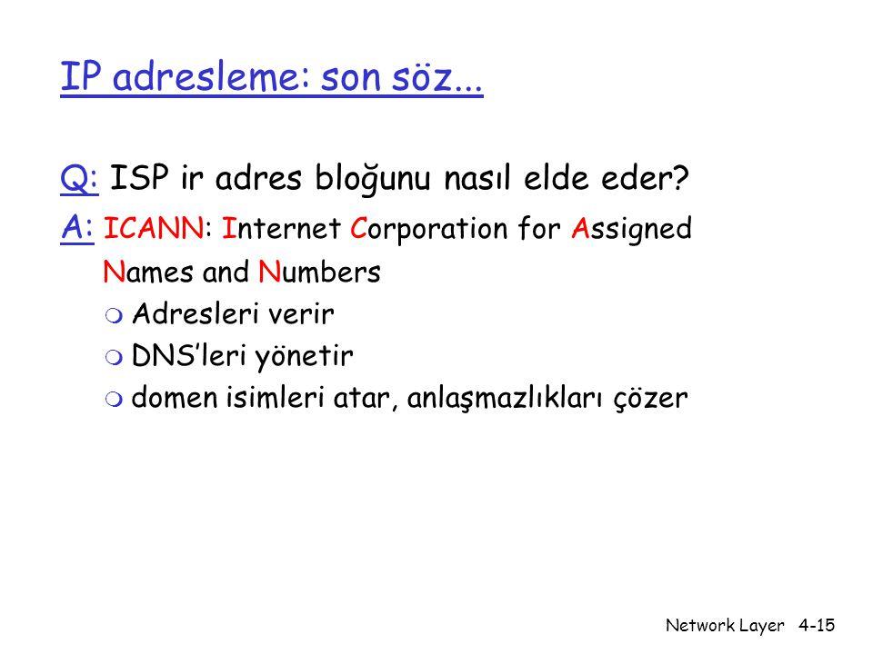 IP adresleme: son söz... Q: ISP ir adres bloğunu nasıl elde eder