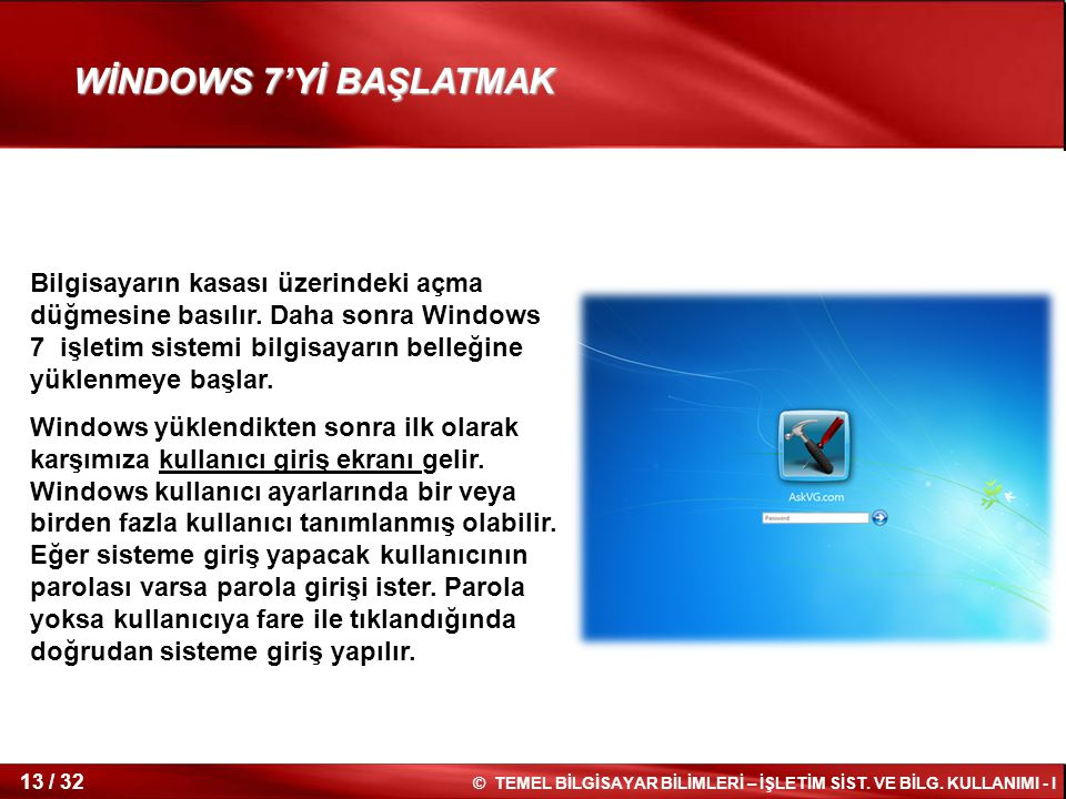 WİNDOWS 7'Yİ BAŞLATMAK
