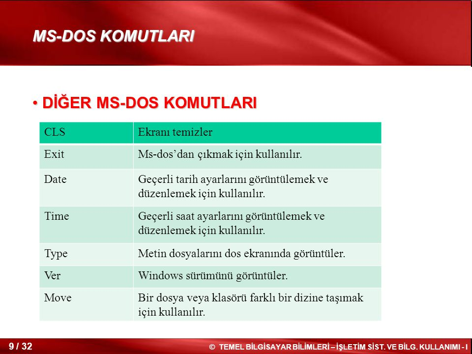 DİĞER MS-DOS KOMUTLARI
