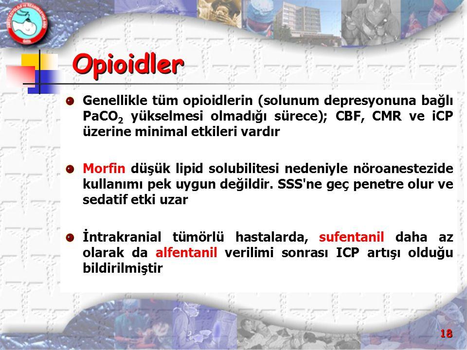 Opioidler Genellikle tüm opioidlerin (solunum depresyonuna bağlı PaCO2 yükselmesi olmadığı sürece); CBF, CMR ve iCP üzerine minimal etkileri vardır.
