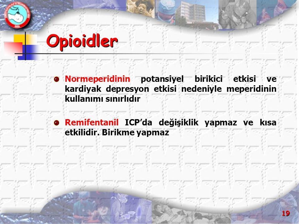 Opioidler Normeperidinin potansiyel birikici etkisi ve kardiyak depresyon etkisi nedeniyle meperidinin kullanımı sınırlıdır.