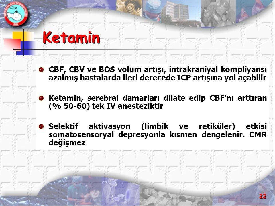Ketamin CBF, CBV ve BOS volum artışı, intrakraniyal kompliyansı azalmış hastalarda ileri derecede ICP artışına yol açabilir.