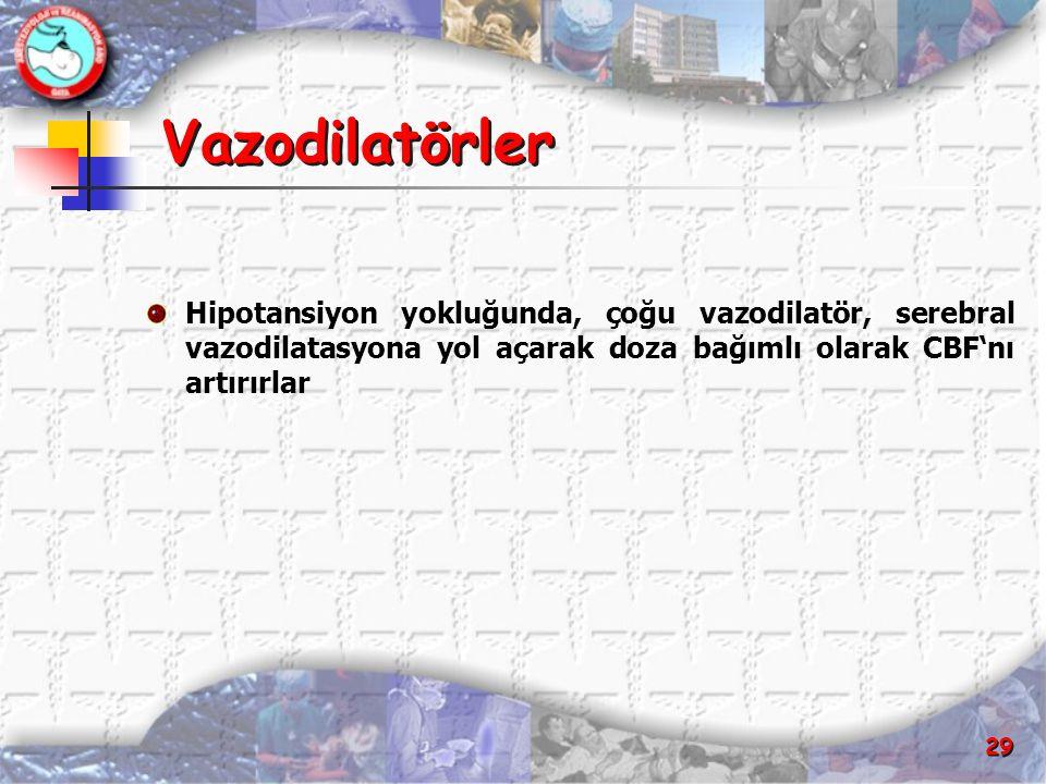 Vazodilatörler Hipotansiyon yokluğunda, çoğu vazodilatör, serebral vazodilatasyona yol açarak doza bağımlı olarak CBF'nı artırırlar.