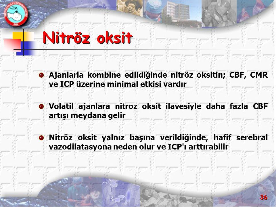 Nitröz oksit Ajanlarla kombine edildiğinde nitröz oksitin; CBF, CMR ve ICP üzerine minimal etkisi vardır.