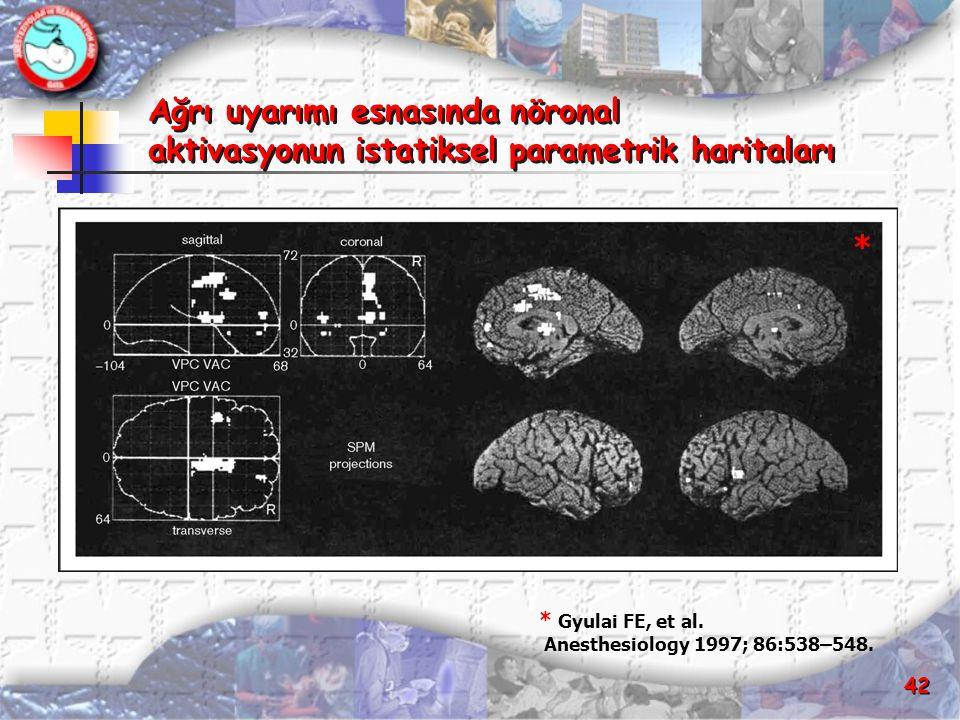 Ağrı uyarımı esnasında nöronal aktivasyonun istatiksel parametrik haritaları