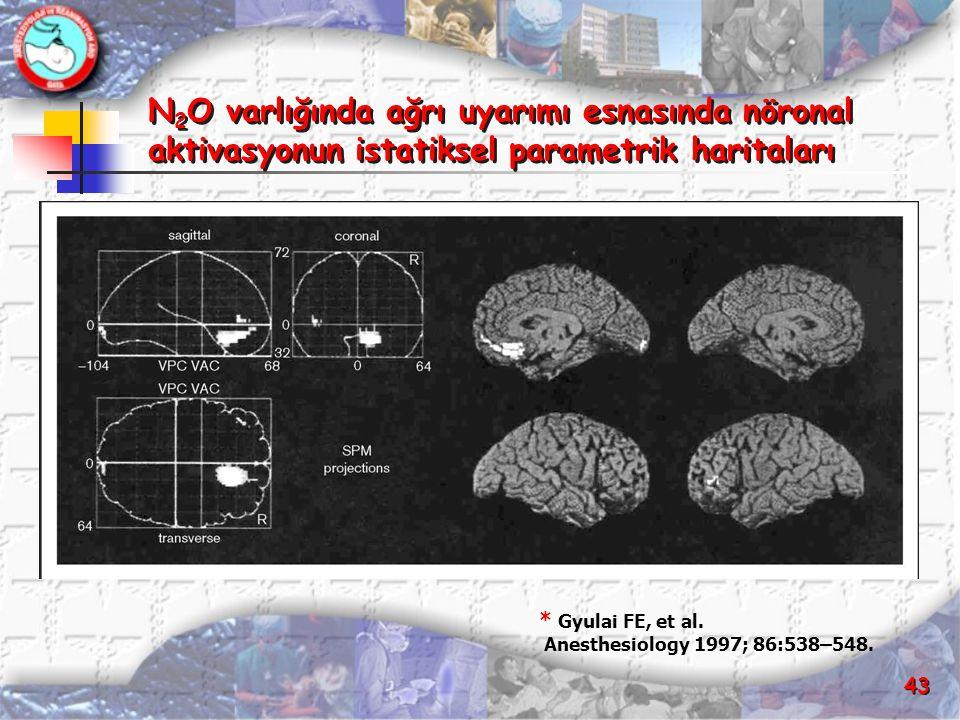 N2O varlığında ağrı uyarımı esnasında nöronal aktivasyonun istatiksel parametrik haritaları