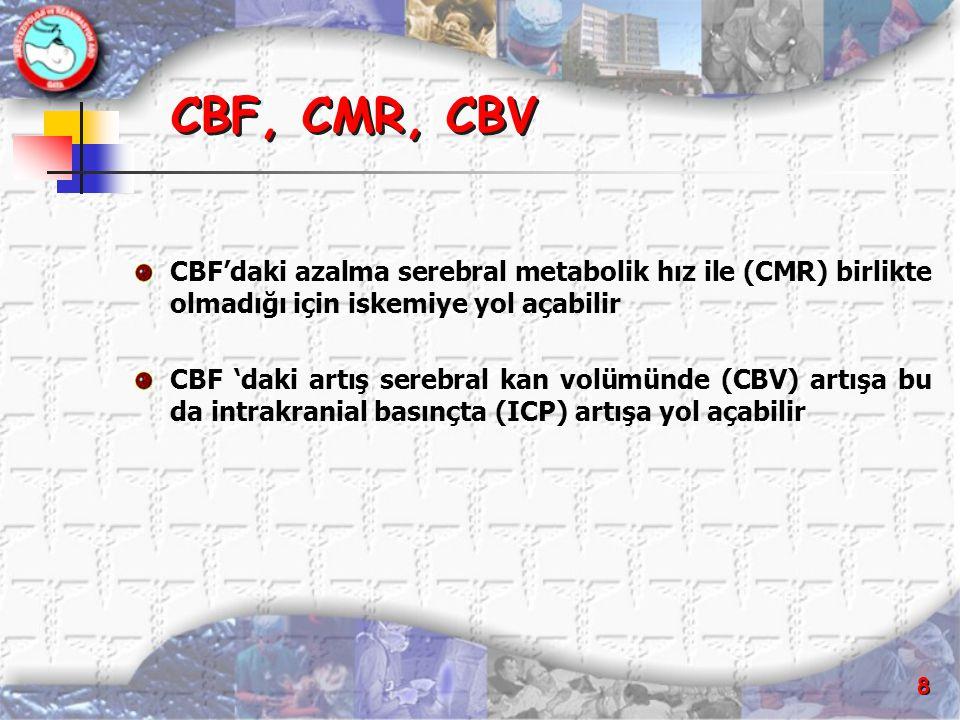 CBF, CMR, CBV CBF'daki azalma serebral metabolik hız ile (CMR) birlikte olmadığı için iskemiye yol açabilir.