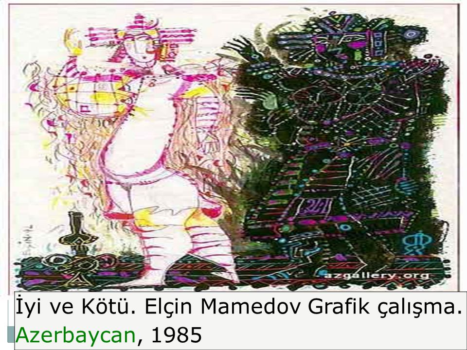 İyi ve Kötü. Elçin Mamedov Grafik çalışma. Azerbaycan, 1985