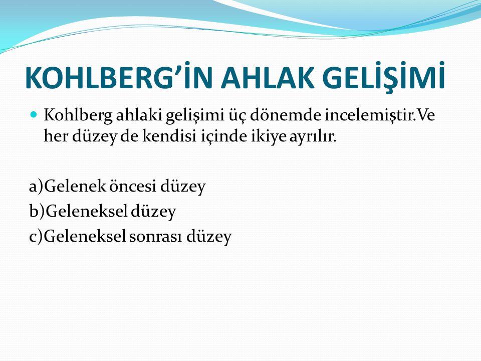KOHLBERG'İN AHLAK GELİŞİMİ