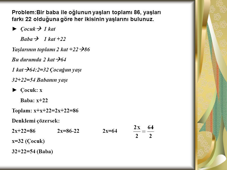Problem:Bir baba ile oğlunun yaşları toplamı 86, yaşları farkı 22 olduğuna göre her ikisinin yaşlarını bulunuz.