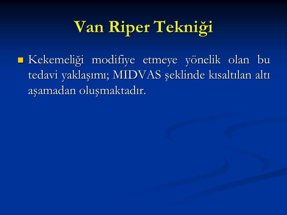 Van Riper Tekniği Kekemeliği modifiye etmeye yönelik olan bu tedavi yaklaşımı; MIDVAS şeklinde kısaltılan altı aşamadan oluşmaktadır.