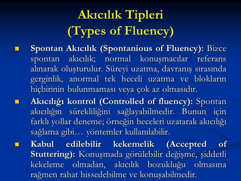 Akıcılık Tipleri (Types of Fluency)