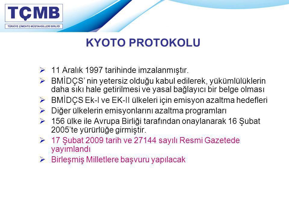 KYOTO PROTOKOLU 11 Aralık 1997 tarihinde imzalanmıştır.