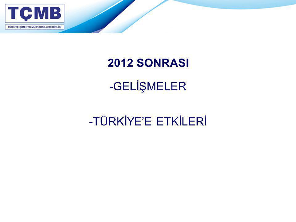 2012 SONRASI -GELİŞMELER -TÜRKİYE'E ETKİLERİ