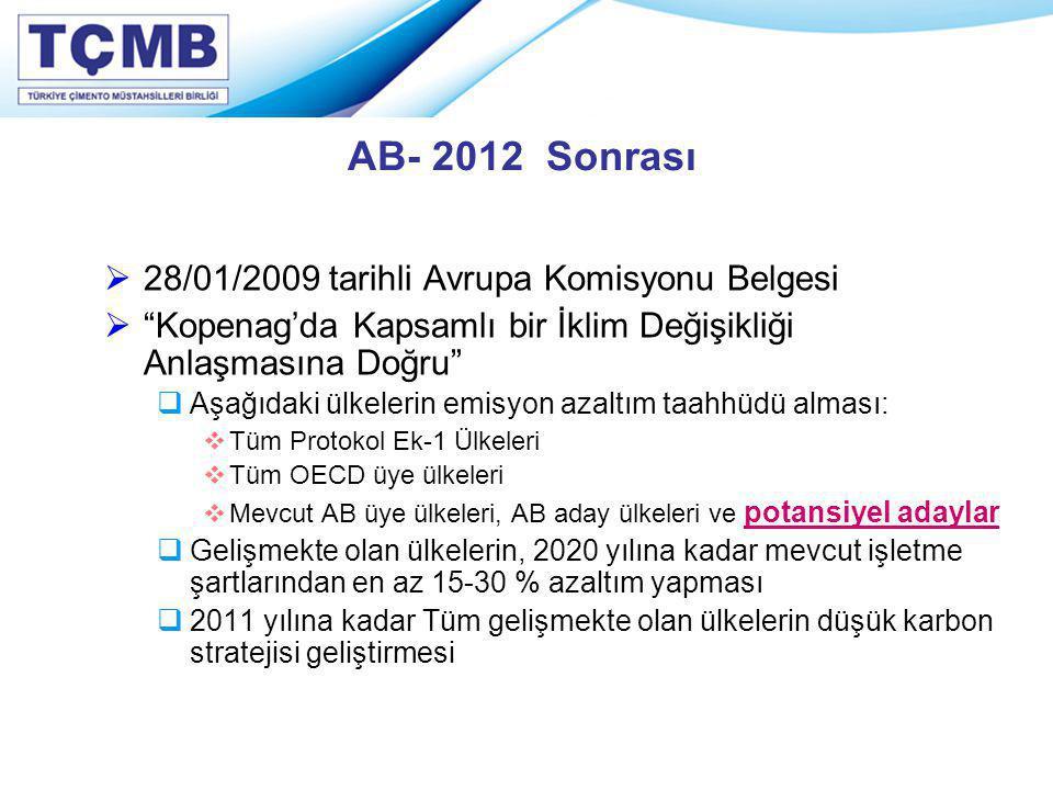 AB- 2012 Sonrası 28/01/2009 tarihli Avrupa Komisyonu Belgesi