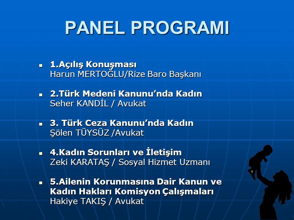 PANEL PROGRAMI 1.Açılış Konuşması Harun MERTOĞLU/Rize Baro Başkanı