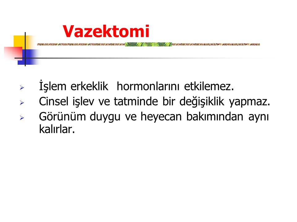 Vazektomi İşlem erkeklik hormonlarını etkilemez.