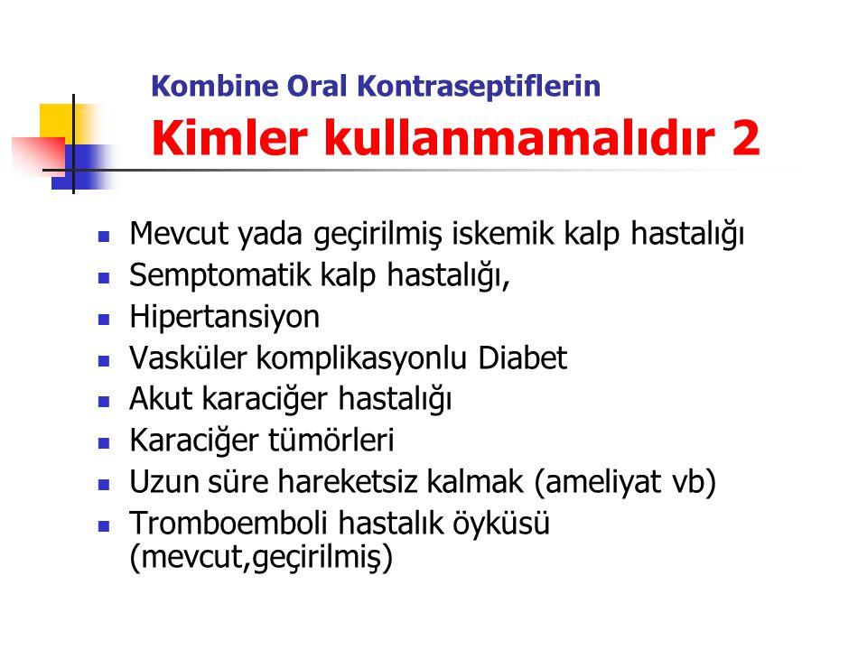 Kombine Oral Kontraseptiflerin Kimler kullanmamalıdır 2