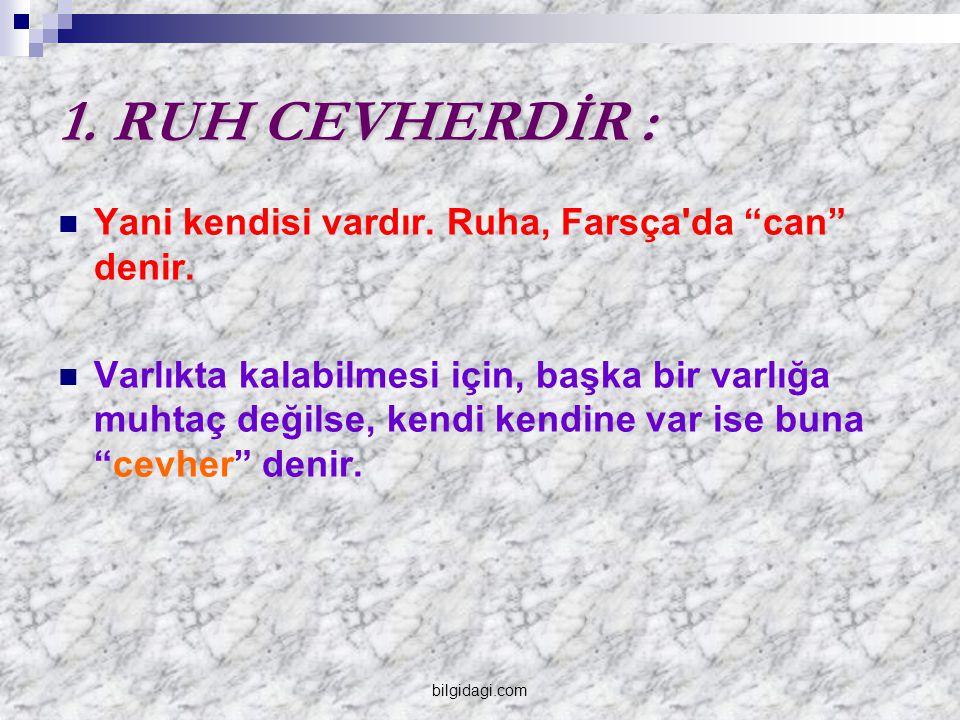 1. RUH CEVHERDİR : Yani kendisi vardır. Ruha, Farsça da can denir.