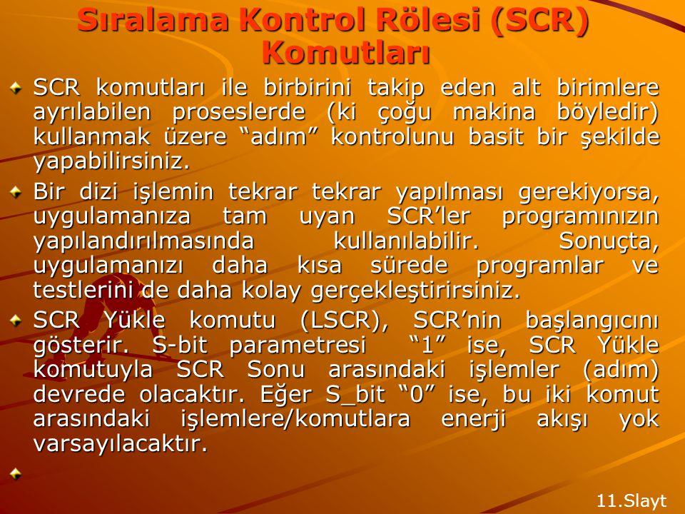 Sıralama Kontrol Rölesi (SCR) Komutları