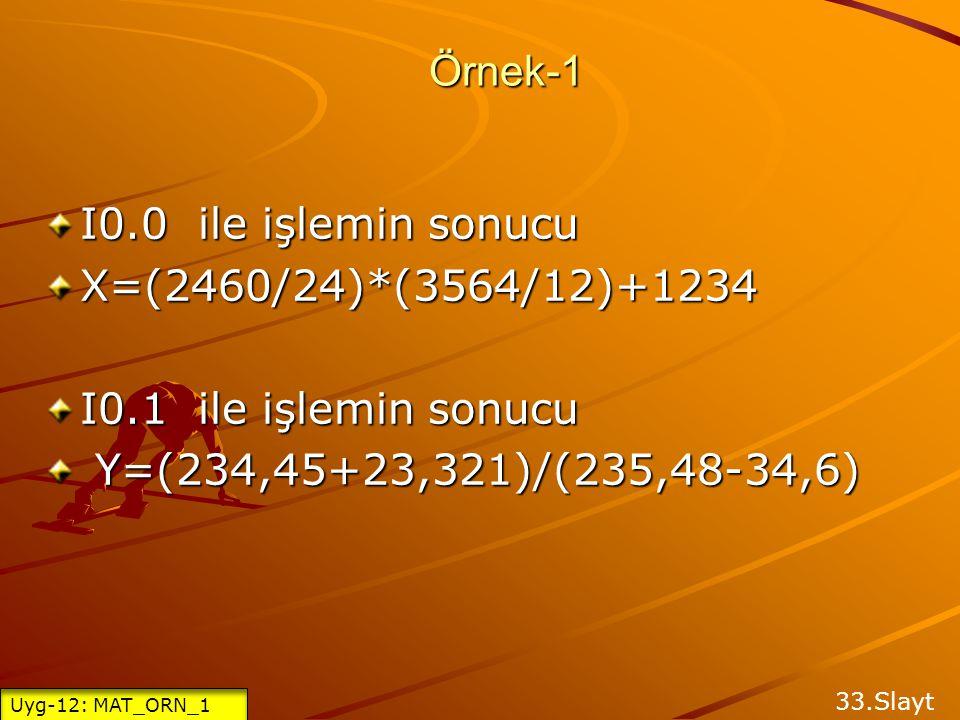 Örnek-1 I0.0 ile işlemin sonucu X=(2460/24)*(3564/12)+1234