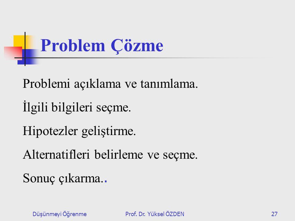 Problem Çözme Problemi açıklama ve tanımlama. İlgili bilgileri seçme.
