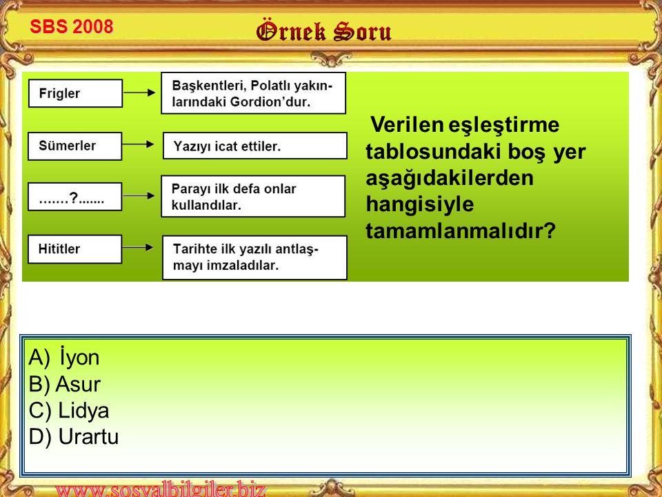 İyon B) Asur C) Lidya D) Urartu SBS 2008
