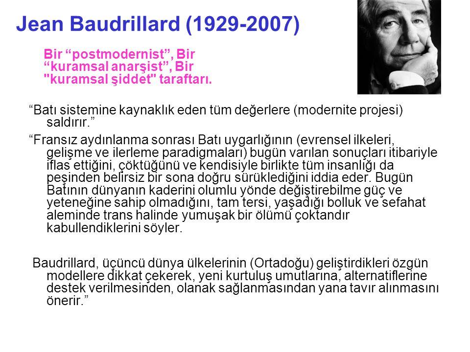 Jean Baudrillard (1929-2007) Bir postmodernist , Bir kuramsal anarşist , Bir kuramsal şiddet taraftarı.