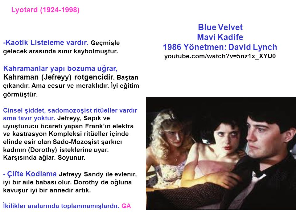 Lyotard (1924-1998) Blue Velvet Mavi Kadife 1986 Yönetmen: David Lynch youtube.com/watch v=5nz1x_XYU0.