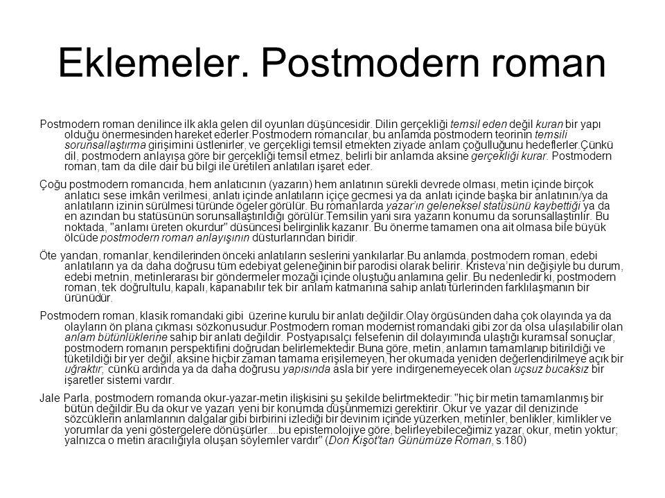 Eklemeler. Postmodern roman